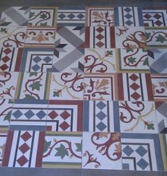 Kerion ceramics on pinterest cement tiles porcelain and ceramics - Carreaux ciment patchwork ...