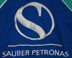 VINTAGE SWISS SAUBER FORMULA 1 PETRONAS SHIRT CREDIT SUISSE BLUE SHORT SLEEVE XL