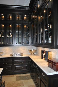 New Kitchen Ideas Dark Cabinets Espresso Butler Pantry 24 Ideas Black Kitchen Cabinets, Black Kitchens, Brown Cabinets, Tall Cabinets, Mahogany Cabinets, Upper Cabinets, New Kitchen, Kitchen Decor, Kitchen Ideas