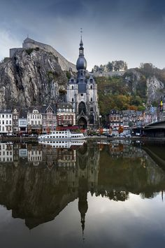 mistymorningme Dinant, carved under the cliffs, Meuse River, Belgium -by Pilar Azaña Talán. Places Around The World, The Places Youll Go, Places To See, Wonderful Places, Beautiful Places, Places To Travel, Travel Destinations, Pays Francophone, Voyage Europe