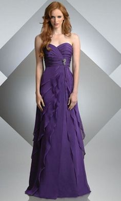 Full-length Strapless Sweetheart Purple Bridesmaids Dress