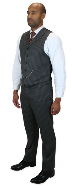 Already made and ready for you to order...Garner Trousers - Gray Pinstripe