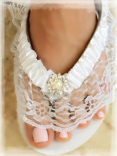 Bridesmaid Sandals, Bridal Sandals, Beach Wedding Shoes, Wedding Boots, Wedding Wedges, White Flip Flops, Flip Flop Shoes, Rhinestone Wedding, Bridal Lace