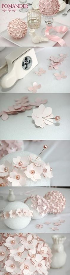 create these whimsical Flower balls using styrofoam balls and a flower craft puncher. Hold multiple cut outs in place with colored pins.