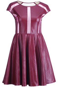 Maroon Splicing Shift Dress. Description Maroon dress, featuring round neck, sleeveless, zip concealed on the side, gauze spliced on the front and the back, in lined finish.  Fabric Cotton and Vinyl. Washing Dry clean. #Romwe