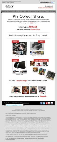 Sony integrates Pinterest into this marketing email in order to drive awareness of products and engage tech fans.