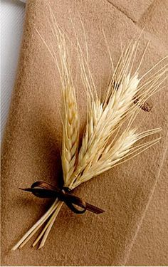 Wheat boutonniere - Fall Wedding Inspiration from J. Schrecker Jewelry. Visit us at www.facebook.com/jschreckerjewelry