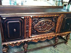 """Black distressed furniture. Our """"house"""" finish. Stunning buffet. For more, follow us on Facebook"""