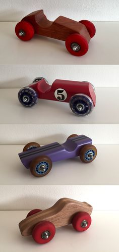 wooden cars with skate wheels - Wooden diy Wooden Toy Trucks, Wooden Car, Metal Toys, Wood Toys, Wooden Projects, Wooden Crafts, Wooden Playset, Bois Diy, Skate Wheels