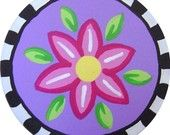 Handpainted Colorful Pink Purple FLOWER With Black and White Checks Wood Drawer Knob Pull Kids Decor