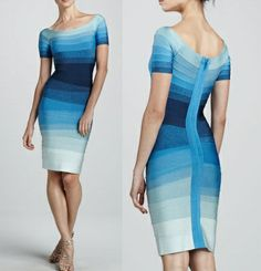 Herve Leger Short-Sleeve Ocean Blue Ombre Bandage Dress <3 My only thoughts on this almost perfect dress is that I would love to see the strips of color more evenly joined together in the back.  I would also love to see the strip of fabric in back running vertically to be changed to gauzy ruffles down the back.