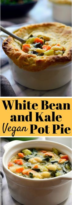This vegan pot pie is filled with a delicious and creamy mix of white beans, fresh kale, carrots and celery. Topped off with the flakiest homemade pie crust, this plant-based pot pie is the definition of vegan comfort food!