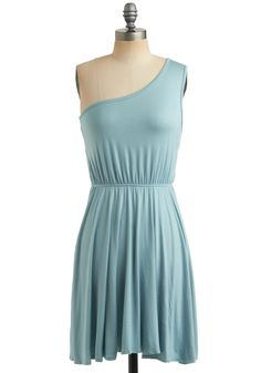 Star Sign Dress in Pisces - Blue, Solid, Casual, A-line, Tank top (2 thick straps), One Shoulder, Summer, Mid-length, Jersey