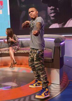 Bow Wow wearing Air Jordan 1 I Retro Laney. Shoe Palace b9c21a04db9c