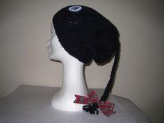 plait beanie with tartan bow