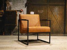 Leren fauteuil Pesara in relaxstof en kleur tan.