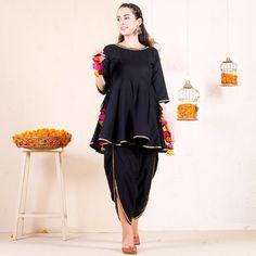 Black Dhoti Peplum Top Set with Multicolour Tassels – Rustorange Pakistani Frocks, Simple Pakistani Dresses, Pakistani Fashion Casual, Pakistani Dress Design, Pakistani Outfits, Indian Fashion, Indian Outfits, Pakistani Bridal, Punjabi Fashion