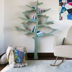 Babyletto Spruce Tree Bookcase, Made with Carb II Compliant MDF, Spruce tree shaped bookcase, each branch holds roughly children's books. Tree Bookshelf, Nursery Bookshelf, Tree Shelf, Kids Bookcase, Bookcases, Tree Book Shelves, Custom Bookshelves, Creative Bookshelves, Baby Boy Rooms