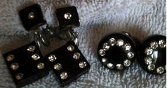 Rockabilly Pin Up Vintage Black Lucite/Bakelite with Rhinestones Dice Earrings and Round Lucite/Bakelite with Rhinestone Earrings (2 Pair).