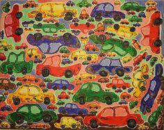 Cars/ Maarit Korhonen, acrylic, canvas, 73cm x 92cm Dark Paintings, Original Paintings, Dancer In The Dark, Autumn Painting, Original Art For Sale, Online Painting, Canvas Art, Acrylic Canvas, House Painting