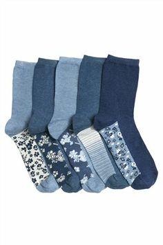 Buy Denim Floral Footbed Socks Five Pack from the Next UK online shop