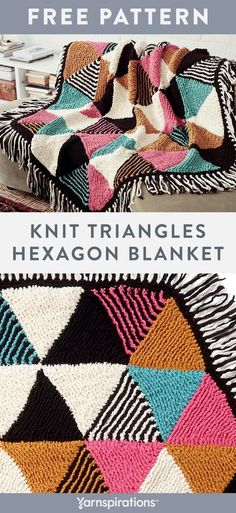 Free Knit Triangles Hexagon Blanket using Bernat Blanket yarn. Stitched in strips and seamed together, the clever construction of this plush blanket makes knitting the geometric colorwork a breeze. Each triangle is picked up off the edge of the previous triangle and knit in basic garter stitch with simple shaping for the bold, color block design.  #yarnspirations #freeknitpattern #knitblanket #hexagonblanket #bernatyarn #bernatblanket Knitting Kits, Arm Knitting, Knitting Patterns Free, Knitting Projects, Crochet Projects, Sewing Projects, Crochet Patterns, Big Knit Blanket, Blanket Yarn