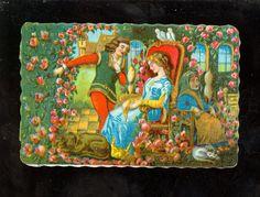Oblate Märchen Dornröschen 1900 Glanzbild