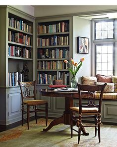 The bookshelves in a Spanish-style home, designed by Madeline Stuart, are painted Donald Kaufman DKC-11, a soft and soothing mossy green. Th...