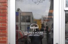 Clive Burger - Vinyl-cut wall graphics #CliveBurger #ResturantBranding #WallGraphic #menu #signage