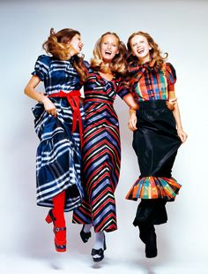Models in tartan and stripes for Vogue Australia 1972. Photo by Jon Waddy.