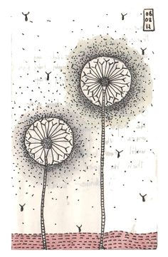 Reminds me of Daffodills by William WordsWorth:    I wandered lonely as a cloud  That floats on high o'er vales and hills,  When all at once I saw a crowd,  A host, of golden daffodils.    Ink and watercolor on paper,5x3 inches