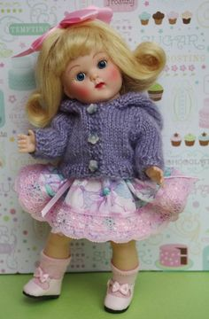 """~LaVeNDeR DuST~...a hand knit hooded sweater for Ginny, Muffie, Madame Alexander 7.5"""" DoLLs  Free shipping and you can buy it now at my ebay. Click on the picture to take you there."""