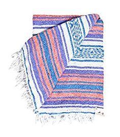 Amazon.com: Mexican Blanket - Pastel Vintage Boho Colors. Great Yoga Blanket, Beach Blanket, Picnic Blanket, or a Throw! Handmade -- White Purple Orange & Blue: Home & Kitchen
