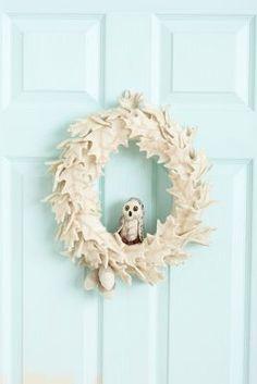 Felted Owl Holiday Wreath