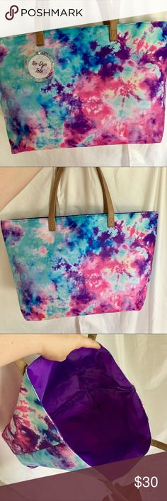 Tie-dye tote bag New condition! Canvas/vinyl-like material. Good size bag for gym clothes and shoes. Bags Totes