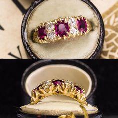 Victorian Ruby & Diamond Quasi-Five-Stone Ring Victorian Jewelry, Antique Jewelry, Vintage Jewelry, Victorian Era, Vintage Engagement Rings, Stone Rings, Beautiful Rings, Wedding Jewelry, Jewelery
