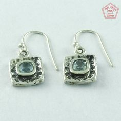 DESIRABLE BLUE TOPAZ STONE 925 STERLING SILVER EARRINGS E6169 #SilvexImagesIndiaPvtLtd #DropDangle