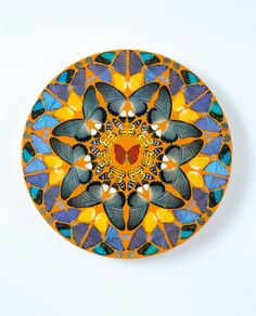 Damien Hirst  Psalm 23: Dominus regit me.  2008  Butterflies and household gloss on canvas Diameter: 457 mm | 18 in  Kaleidoscope painting  Image: Photographed by Prudence Cuming Associates © Damien Hirst and Science Ltd. All rights reserved, DACS 2012