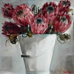 Artwork of Nicole Pletts exhibited at Robertson Art Gallery. Original art of more than 60 top South African Artists - Since Protea Art, Protea Flower, Flower Art, Art Flowers, Exotic Flowers, Impressionist Paintings, Oil Paintings, Good Morning Beautiful Pictures, Animal Stencil