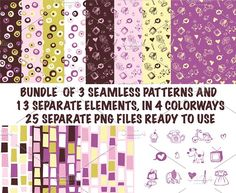 Fun whimsical kid patterns pack by LAVA Design Studio on @creativemarket
