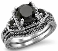 3.05ct Black Round Diamond Engagement Ring Bridal Set 14k White Gold / Front Jewelers