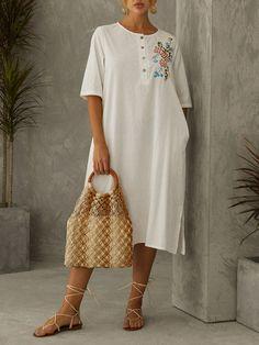 Vintage Flowers Embroidery Split Plus Size Dress with Pockets Plus Size Vintage Dresses, Plus Size Dresses, Vintage Flowers, Pockets, Shirt Dress, Embroidery, Shirts, Fashion, Moda