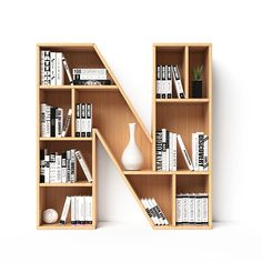 Alphabet in the form of book shelves. Alphabet in the form of book shelves. Letter N rendering Creative Bookshelves, Wall Bookshelves, Bookshelf Design, Wall Shelves Design, Book Shelves, Home Decor Furniture, Diy Home Decor, Furniture Design, Awesome Woodworking Ideas
