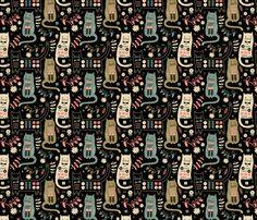 Cat Folk  fabric by limegreenpalace on Spoonflower - custom fabric designed by Sondra Smith