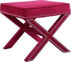 Lowest price online on Meridian Furniture Nixon Pink Velvet Ottoman/Bench - Pink Ottoman, Ottoman Footstool, Upholstered Ottoman, Ottomans, Meridian Furniture, Pink Velvet, Green Velvet, Black Velvet, Beautiful Living Rooms