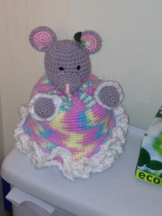 Mouse crocheted toilet paper roll cover up