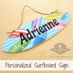 Our personalized surfboard sign is a awesome way to personalize your kids surf room, beach themed bedroom or nursery. Add a wave of color to your surf decor with this colorful custom made surfboard sign that is personalized with your child's name. Our personalized surfboard signs come with a surfboard fin to give it that authentic surfboard look. Each...