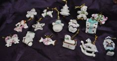 Lenox Jeweled Miniature Christmas Ornaments Gold Trimmed Set of 16 Mini Advent