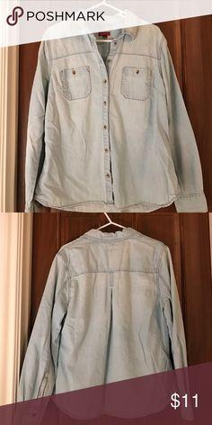 Jean button down shirt Light wash jean button down shirt. Worn once. Tops Button Down Shirts