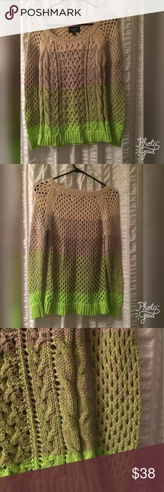 NWT American Eagle Sweater Never been worn American Eagle, tan to neon green knit sweater. Perfect for those chilly nights or for fall/winter. Please don't hesitate to ask questions or make an offer, prices are not firm! Happy Poshing! American Eagle Outfitters Sweaters Crew & Scoop Necks